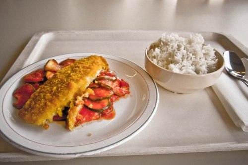 Menu makan siang di Mensa: fillet ikan dan nasi.